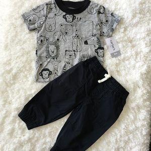 Carters 2 piece set black pants w/ gray zoo shirt